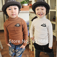2013 autumn fall winter boys girls kids cartoon mickey mouse cotton wool long sleeve turtleneck bottoming shirt 3T-10