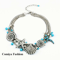 New 2014 Fashion vintage marine series shell star pearl short choker necklaces  items gift jewelry christmas bijoux bijouterie