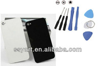 Hot Sell Replacement black white Glass Battery Cover Back Housing for  iphone 4G/4s+ opener tools