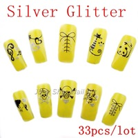 33 Sheets Nail Stickers Black with Silver Glitter Nail Art  Water Decals Transfers Wraps Free Shipping