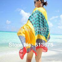 Free Shipping 2014 New Fashion 70*170cm Women Fall/Winter imitated silk Houndstooth plaid long scarf /shawl ladies' scarves