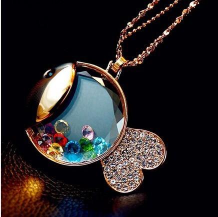 cute Gold fish bear perfume Design Multi-color Rhinestone Stone Long Chain Necklaces & Pendants wholesales free shipping XL-256(China (Mainland))