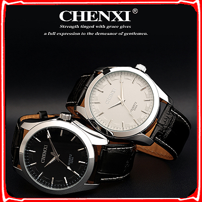 Original CHENXI watch men's Leather wristwatch diving band black popular fashion watches for gift ,Free shipping(China (Mainland))