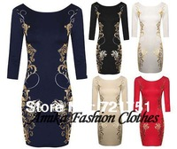 New Fashion 2014 Elegnat Classical O-neck Full Sleeve Knee-length Print Color Sheath Stretch Slim Vintage Pencil Dresses