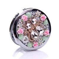 Diamond Makeup mirror Flowers Rhinestone Fashion Luxury Beauty Tools Hand Pocket Convenient Cozy