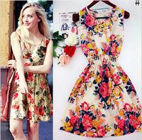 Hot Sale Dress Women Sleevelss Floral Print Women dresses Plus Size vestidos S-2XL