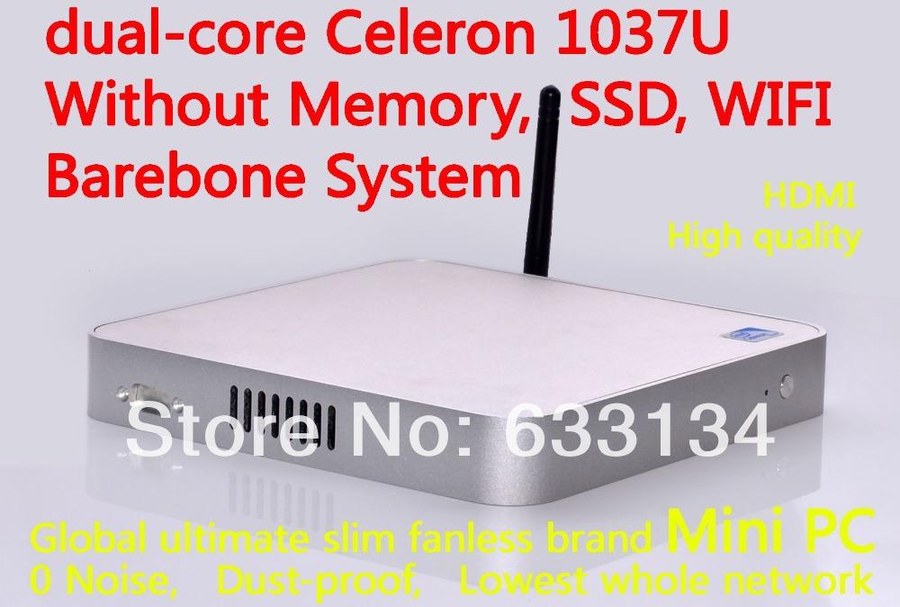 Mini Desktop living room computer dual-core Celeron 1037U all-aluminum chassis, fanless motherboard machine Barebone system win7(China (Mainland))