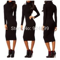 Free shipping, Fashion Autumn&Winter Elegant Woman Turtleneck Long Sleeve Sheath Stretch Slim Party Pencil Women Bodycon Dresses