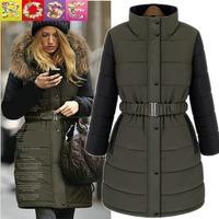 2014 New Female Fashion  Winter Coat Warm Long Jacket Woman  hooded Fur Collar Clothes Army Green / Khaki S-XXl Free Shipping