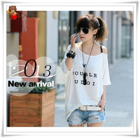 2013 New fashion model Slash Neck letter White black chanpagne short sleeve T-shirt Free shipping 9529