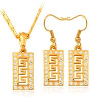Vintage Geometry Pendant Earrings Choker Necklace 18K Gold Plated Austrian Rhinestone Fashion Jewelry Set For Women MGC S742