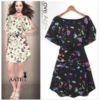With Belt!Fashion New 2014 Women Summer Dress Chiffon Animal Bird Print Dresses Elegant Vestido Tunic Bandage Gowns Casual Dress