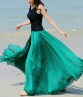 2014 Hot Summer Stylish Vintage Women Chiffon Long Maxi Dreee Graceful Elastic Waistline female Dress 3040