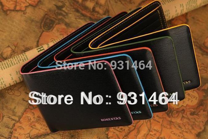Brand cute leather wallets waterproof colorful billfold men bag short style card holder purse clip for male free shipping()