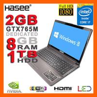 """HASEE NEW Intel Core i7-4700MQ Laptop 3.4GHz 15.6"""" 1080p Full HD NVIDIA GTX765M 2GB 8GB RAM 1TB HDD DVDRW HDMI Camera USB 3.0"""