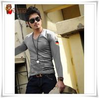 2014 Men's fashion T-shirt Free Shipping Men brand T-Shirts man printing fashion V-neck t shirt plus size 4 size M-XXL NT009