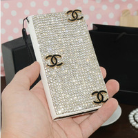 Luxury Bling Rhinestone Diamond wallet for credit cards holder cell mobile phone leather cases bags for iphone for 4s 5s 5 5c