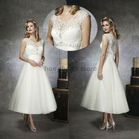 Free Shipping Modern Custom Made Scalloped Sleeveless Tea-length Beading Lace Short Wedding Dresses