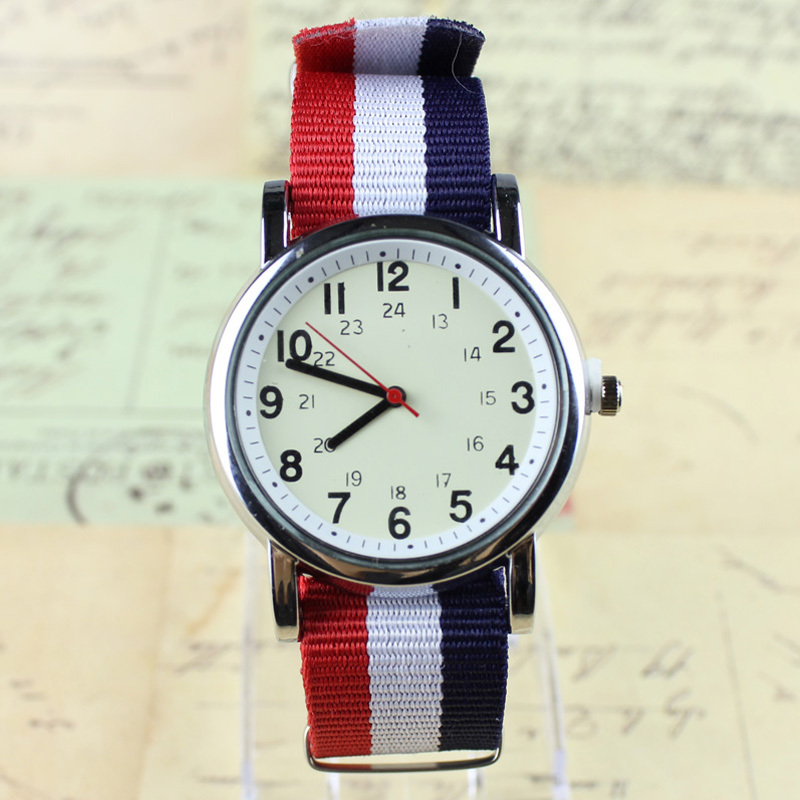 DIY 24-hours display Men's Military Watches Men Quartz Flag table Women Casual Canvas Nylon Fabric Casual Analog Watch ZB6112(China (Mainland))