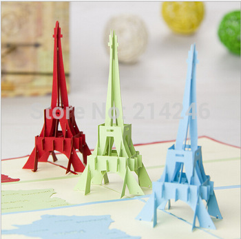 wholesale Free shipping 3D greeting cards Eiffel Tower Kirigami pop greeting cards  handmade torre eiffel lenses for eyes color