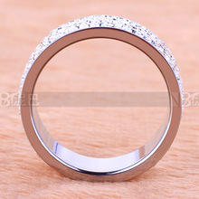 Four Row Crystal Jewelry Free Shipping Wholesale Fashion Stainless Steel Ring for women