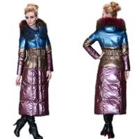 Brand women Rara 2013 fashion ultra long plus size large patchwork female fur collar slim down  jackets and coat ladies 5XL