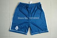 Free shipping 14/15 real Madrid football blue shorts embroidery logo top Thailand quality Ronaldo 2014 football soccer shorts
