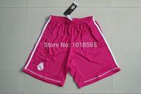 Free shipping 14/15 real Madrid football pink shorts embroidery logo top Thailand quality Ronaldo 2014 football soccer shorts