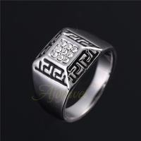 Size 7-10 Free Shipping  2014 New Vintage Retro Rhinestone Gothic Jewelry Men Ring Silver