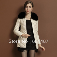 Leather garment leather female 2013 new sheepskin coat feather garment fox collars long female coat M - XXXL free shipping