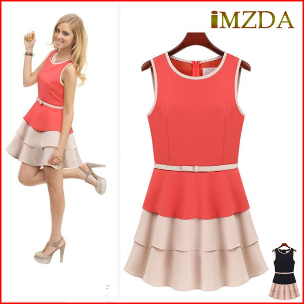 Summer Sleeveless Patchwork Dress Novelty Cake Party Dresses Free Shipping(China (Mainland))