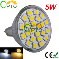Free shipping promotion 5W MR16 12V 24pcs SMD5050 led spotlight bulb lamp light Warm White/ White 6 pcs/lot