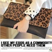 2013 leopard clutches bags fashion leopard print bag horsehair day clutch evening bag handbag women bag fringe