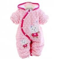 Baby Romper brand new 2014 kid apparel coral fleece partial lapel romper dot cartoon hooded romper winter thermal romper