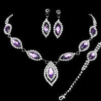 New Design Free Shipping Purple Imitated Gemstone Wedding Jewelry Sets including Necklace Earrings and Bracelet