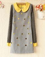 2014 autumn women's faux two piece polka dot cutout color block peter pan collar long-sleeve dress slim