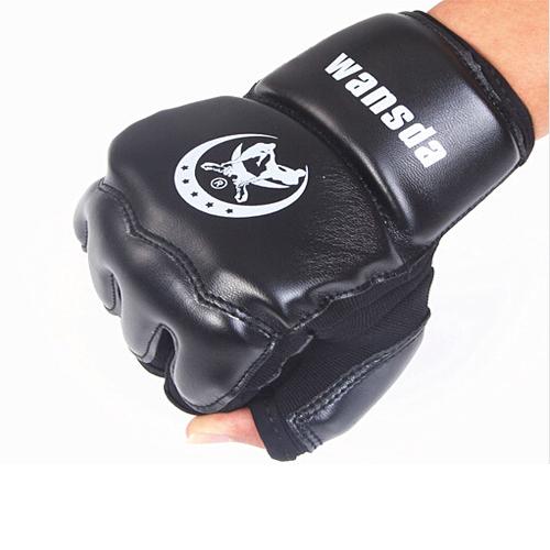 Leather Half Finger Fight Boxing Gloves Mitts Sanda Karate Sandbag Taekwondo Protector For Boxeo Mma Muay Thai Kick Boxing GYD21(China (Mainland))