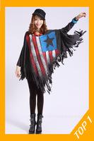 Free shipping wholesale promotion 2013 Autumn inkjet American flag tassels large size women's long sleeve shirt bat T-shirt
