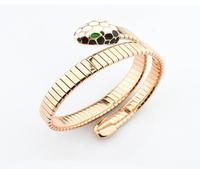 New Women Snake Bracelet Rose Gold 316L Stainless Steel Chunky Animal Bangle Gift Can Adjustable