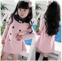 2015 girls dress Beautiful cotton long sleeve children dress  kids Baby dress Retail free shipping