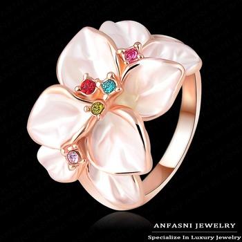 Верх Quality Белый Enamel Ring 18K Розовый Золото Plated Flower Ring Made With Genuine ...