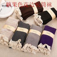 Japanese sweet lace  knee socks cotton socks 3-3203