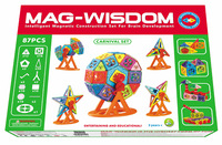 Mag-wisdom 87 Pcs Designer Set Wheels Magnet Colored Extreme Power Toys 3D