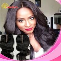 Deep Middle Part Cheap Body Wave Lace Closure Brazilian Virgin Human 6A Grade Bleached Knots Black baby Hair Pieces Top Closure