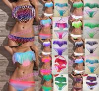 2014 sale Fashion Sexy Leopard Women Bikini Swimwear Padded Boho Fringe Tassels Real Class S M L XL