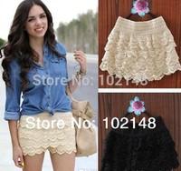 2 pcs Sexy Cotton Crochet + Mercerized lining Mini Lace Tiered Short Skirt Under Safety Pants S M L XL XXL XXXL Hot Selling