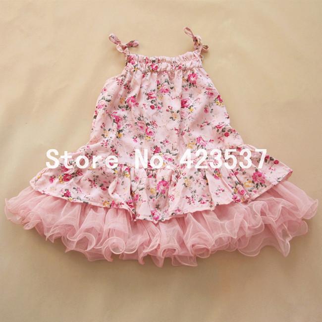 Wholesale kid's floral dress girls princess tutu dress sleeveless one-piece 2 colour girls clothing for summer tutu style(China (Mainland))