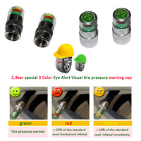 4PCS / SET   special 3 Color Eye Alert Visual tire pressure warning caps  Monitor Valve Stem Caps Indicator 2.4 car care