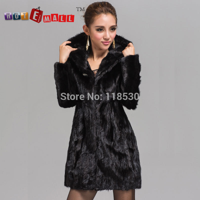 2014 Free shipping Factory New Stylish Women's Long Black Sheared Mink Fur Coat/Garment With Hooded as Christmas Day Gift(China (Mainland))