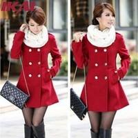 TOP888 Women Wool Coat Double-Breasted Winter Warm Wool Coat Free Shipping Slim Elegant Woolen Cloth Female Outwear